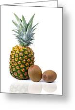Pineapple And Kiwis Greeting Card by Carlos Caetano