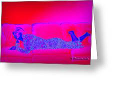 Pink And Blue Daydream Greeting Card by Charles Benavidez