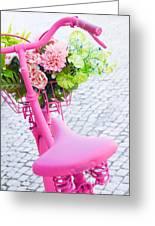 Pink Bicycle Greeting Card by Carlos Caetano