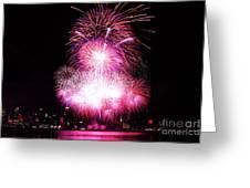 Pink Fireworks At Nyc Greeting Card by Archana Doddi