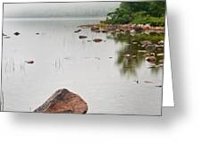 Pink Granite In Jordan Pond at Acadia Greeting Card by Steve Gadomski
