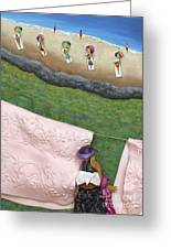 Pink Linen- Crop-to See Full Image Click View All Greeting Card by Anne Klar