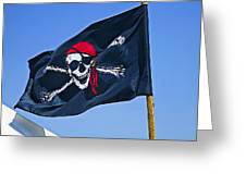 Pirate Flag Skull With Red Scarf Greeting Card by Garry Gay