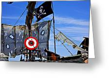 Pirate Ship With Target Greeting Card by Garry Gay