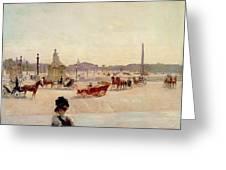 Place De La Concorde - Paris  Greeting Card by Georges Fraipont
