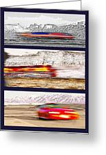 Planes Trains Automobiles Triptych Greeting Card by Steve Ohlsen