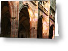 Play Of Light And Shadow - Saint Vitus' Cathedral Prague Castle Greeting Card by Christine Till
