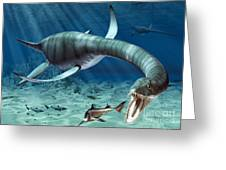 Plesiosaur Attack Greeting Card by Roger Harris and Photo Researchers
