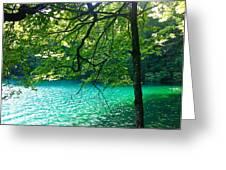 Plitvicka Jezera  Blue Lake Greeting Card by MB Matthews