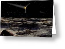 Pluto Seen From The Surface Greeting Card by Ron Miller