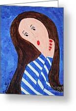 Pondering Brunette Greeting Card by Jeannie Atwater Jordan Allen