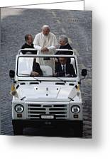 Pope John Paul II Rides In An Open-air Greeting Card by James L. Stanfield