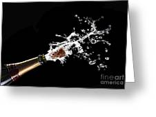 Popping Champagne Cork Greeting Card by Gualtiero Boffi