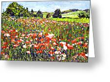 Poppy Fields In France Greeting Card by David Lloyd Glover
