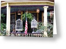 Porch With Bird Cages Greeting Card by Susan Savad