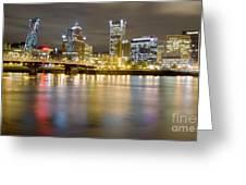 Portland Oregon Skyline Reflections Greeting Card by Dustin K Ryan