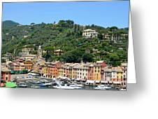 Portofino Hillside Greeting Card by Corinne Rhode