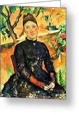 Portrait Madame Cezanne Greeting Card by Pg Reproductions