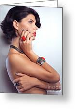 Portrait Of A Beautiful Woman Wearing Jewellery Greeting Card by Oleksiy Maksymenko