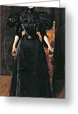 Portrait Of A Lady In Black Greeting Card by William Merritt Chase