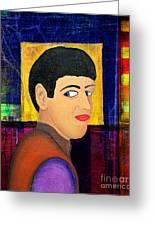 Portrait Of A Man 1 Greeting Card by Emilio Lovisa