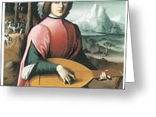 Portrait of a Young Man with a Lute Greeting Card by Bachiacca