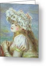 Portrait Of A Young Woman In A Lace Hat Greeting Card by Pierre Auguste  Renoir
