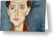 Portrait of Franz Hellens Greeting Card by Modigliani