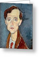 Portrait Of Franz Hellens Greeting Card by Modigliani