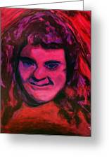 Portrait Of Jenny Friedman Who Never Gave Up. Figure Portrait In Pink Purple And Blue Downs Syndrome Greeting Card by MendyZ M Zimmerman