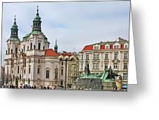 Prague - St Nicholas Church Old Town Square Greeting Card by Christine Till