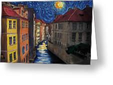 Prague By Moonlight Greeting Card by Jo-Anne Gazo-McKim