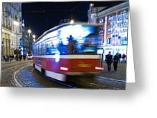 Prague tram Greeting Card by Stylianos Kleanthous