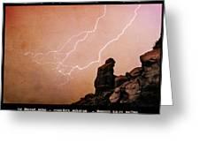 Praying Monk Camelback Mountain Lightning Monsoon Storm Image TX Greeting Card by James BO  Insogna
