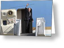 President George Bush Waves Good-bye Greeting Card by Stocktrek Images
