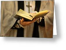Priest with Open Bible Greeting Card by Jill Battaglia