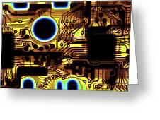 Printed Circuit, Macrophotograph Greeting Card by Pasieka