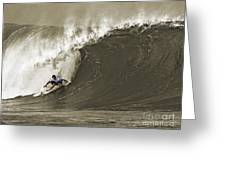 Pro Surfer Julian Wilson Surfing In The Pipeline Masters Contest Greeting Card by Paul Topp