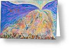 Prophetic Message Sketch 22 Sanctify Glory Pouring Into Vessel On The Mountain Greeting Card by Anne Cameron Cutri