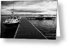 Public Jetty And Island Warrior Ferry On Rams Island In Lough Neagh Northern Ireland Greeting Card by Joe Fox