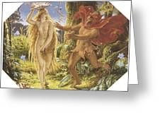 Puck and the Fairy Greeting Card by Joseph Noel Paton