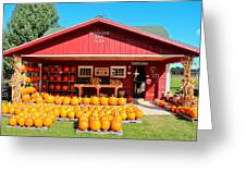 Pumpkin Barn Greeting Card by Rachel Cohen