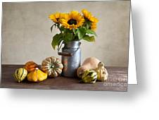 Pumpkins And Sunflowers Greeting Card by Nailia Schwarz
