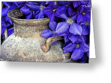 Purple Clematis And A Milk Can Greeting Card by James Steele