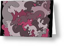 Purple Creatures Greeting Card by Barbara Marcus