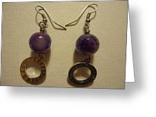 Purple Doodle Drop Earrings Greeting Card by Jenna Green