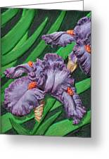 Purple Iris Flowers Sculpture Greeting Card by Valerie  Evanson