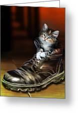 Puss In Boot Greeting Card by Julie L Hoddinott