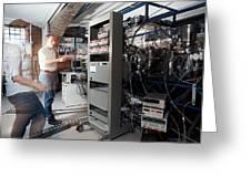 Quantum Entanglement Equipment Greeting Card by Volker Steger
