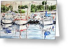Quattro Barche Al Pennello Di Bonaria Greeting Card by Giovanni Marco Sassu